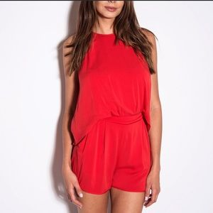 Black halo red overlay romper. WORN ONCE!